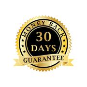 Money back guarantee golden badge Stock Illustration