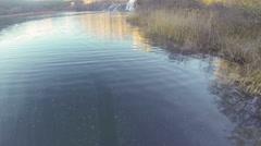 Camera flying above Krka waterfalls Stock Footage