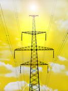 Electricity pylon with shine on yellow background. Stock Illustration