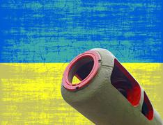War in ukraine.artillery cannon against of destroyed ukrainian flag. Stock Illustration