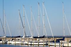 Sailing boats in harbor Stock Photos