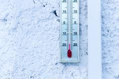 Thermometer showing minus 20 celcius Stock Photos