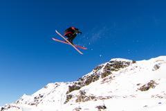 Skier doing big air Stock Photos
