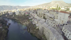 Above Old Bridge in Mostar Stock Footage