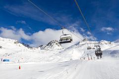 Chairlift at ski resort Stock Photos