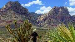 Hiker Admires View- Spring Mountain Ranch State Park- Nevada Stock Footage