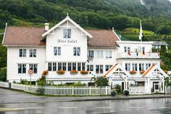 Stock Photo of Old white wooden hotel in Utne, Norway