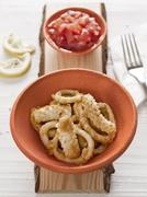 calamari fritti - stock photo