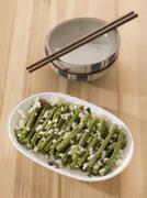 stir fried long beans - stock photo