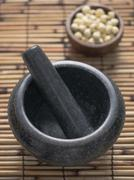 asian mortar and pestle - stock photo
