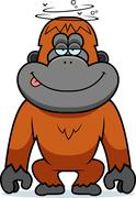 Cartoon stupid orangutan Stock Illustration