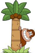 cartoon bigfoot tree - stock illustration