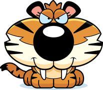 sly saber-toothed tiger - stock illustration