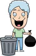 Cartoon grandma trash Stock Illustration