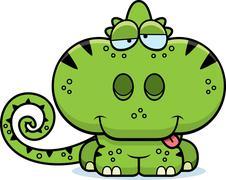 cartoon goofy chameleon - stock illustration