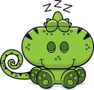 cartoon chameleon napping - stock illustration