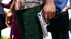 Closeup of Revolver in man hand Stock Footage