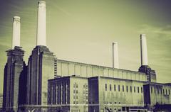 Vintage sepia Battersea Powerstation London Stock Photos