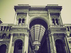 Vintage sepia Galleria Vittorio Emanuele II, Milan - stock photo