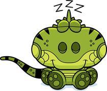 cartoon iguana napping - stock illustration