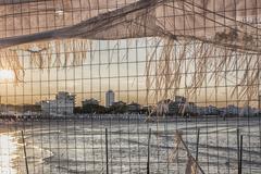 iron grid on the adriatic sea - stock photo