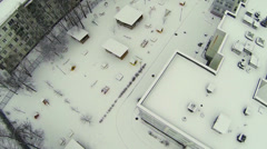Snowbound playground near kindergarten at winter day Stock Footage