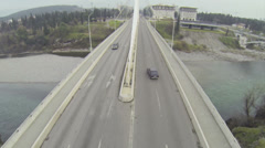 Above Millenium Bridge in Podgorica Stock Footage