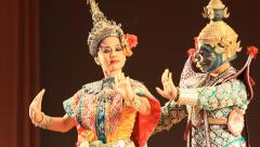 Unidentified actress is showing Thai ballet in Nangloi - stock footage