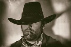 Old West Cowboy Smoker Close - stock photo