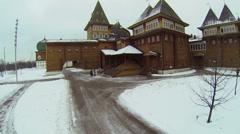 Entrance of wooden palace in Kolomenskoye Stock Footage