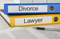 Folders with the label divorce and lawyer Stock Photos
