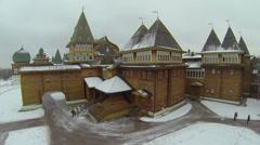 People walk near wooden palace in Kolomenskoye Stock Footage