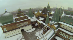 Panorama of wooden palace in Kolomenskoye against cityscape Stock Footage