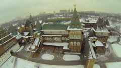 Wooden palace in Kolomenskoye is reconstructed building Stock Footage