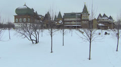 Wooden palace is reconstructed building of XVII century Stock Footage