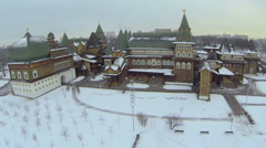 Complex of reconstructed wooden palace of XVII century Stock Footage
