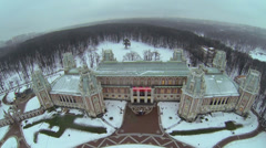 Park near edifice of palace in Tsaritsyno at winter day Stock Footage