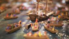 Scale model of boats Stock Footage
