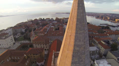 Flying around Church of St. Donatus in Zadar Stock Footage