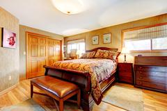 rich bedroom wtih antique furniture set - stock photo