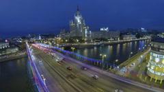 Transport congestion on bridge and Kotelnicheskaya quay Stock Footage