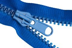 Blue sewing zipper macro Stock Photos