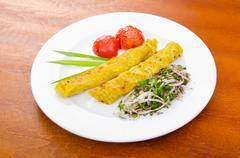 Traditional azeri kebab made with mashed potato Stock Photos