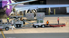 FedEx offloads jet plane Stock Footage