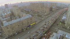 Cityscape with traffic jam on Third Transport Ring at winter Stock Footage