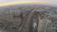 City panorama with traffic on Third Transport Ring at winter Stock Footage
