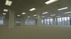 Empty Office Space Pan Across Stock Footage