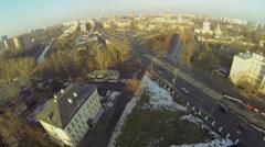 Street traffic near church of St. Sergey Radonezhsky Stock Footage