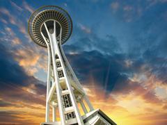 Sunset over Seattle Kuvituskuvat