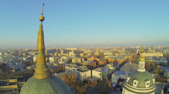 City panorama with Church of St. Martin the Confessor Stock Footage